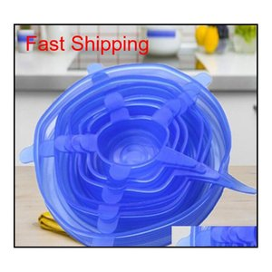 Bulk Kitchen Housekeeping Organization Home & Garden6Pcs Sile Stretch Lids Reusable Airtight Storage Ers Durable To Keep Food Fresh Safe In