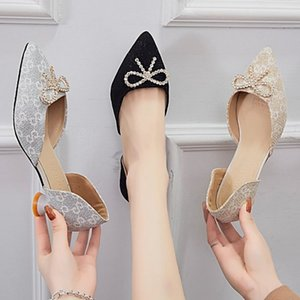 Professional Banquet Work Baotou Sandals Pointed Diamond High Heels Women's Shallow Bow Sequin Low Heel Shoes DDBE