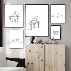 Black White Piano Canvas Poster Nordic Line Drawing Print Music Minimalist Wall Art Painting Decorative Picture Home Decor Paintings