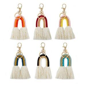 Weaving Rainbow Relechicains для женщин Boho Handmade Key Holder Keyring Macrame Bag Charm Charewing Ювелирные изделия подарки