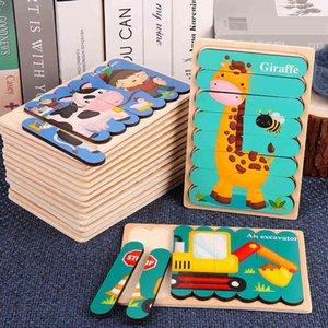 Двухсторонняя полоса 3D головоломки Детская игрушка Деревянные Монтессори Материалы Развивающие игрушки для детей Большой Кирпич Дети Обучение Игрушки 103