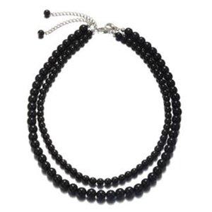 Synthetic black agate necklace men's multi-layer multi-strand winding bead chain bracelet