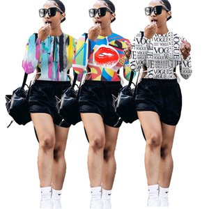 Splash Ink Letter Print Slim Fit T-shirts for Women Crew Neck Full Sleeve Bodycon Tops Streetwear Side Hollow Drawstring Tees