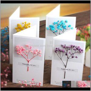 Cards Gypsophila Dried Flowers Handwritten Blessing Greeting Birthday Gift Card Wedding Invitations Oqp4I Alhxz