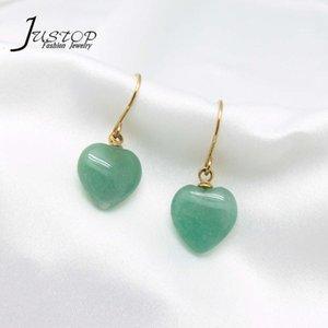 Stainls steel jewelry gold plated minimalist green aventurine heart jade earrings