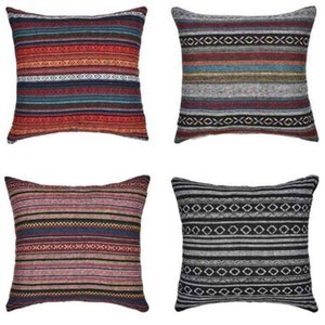 Bohemia Pillow Case Striped Pillow Cover Retro Ethnic Throw Cushion Cover Home Sofa Pillow Cases Square Car Decorative Bedroom Decor C6987