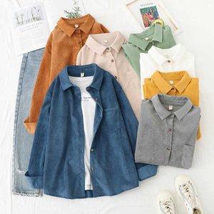 Corduroy Shirt Women's Korean-Style Loose Slimming Long-Sleeve Blouse Fashion Shirt Retro Flavor 2020 Spring New G0914