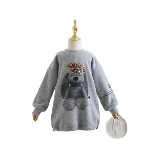 Fashion kids cartoon sweatshirt girls letter rabbit printed long sleeve loose pullover autumn winter children velvet warm casual jumper Q2069