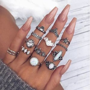 Personality Ring Dark Silver Luminous Band Ring Ladies Friend Gift Vintage Fashion Jewelry 2021 14-Piece Set Combination