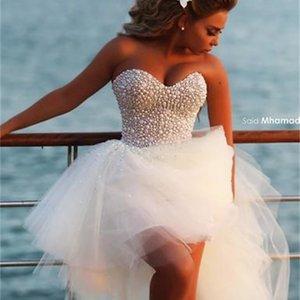 High Low Beach Wedding Dresses Modest Luxury Crystal Pearls Sweetheart Summer Holiday Seaside Short Bridal Wedding Dress