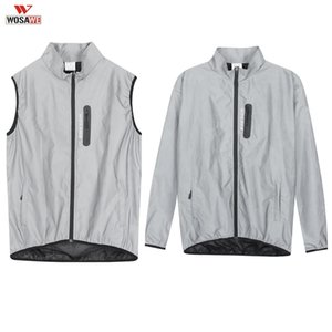 WOSAWE Men Summer Cycling Full Reflective Clothing Bicycle Safety Jacket Windproof Water Repellent Running Vest Sportwear