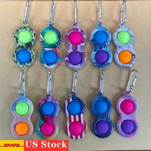 3-7 days delivery Clip Simple Dimple Key Ring Silicone Push Bubble Toy Keychain Pop it Fidget Sensory Toys UA Flags Camo Border Fingertip