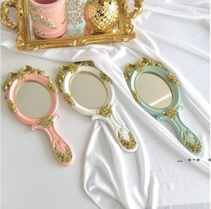 Make Up Lens Hand Mirror Household Sundries Makeup Vanity Mirrors Oval Hands Hold Cosmetic Mirrorss With Handle FWE9433