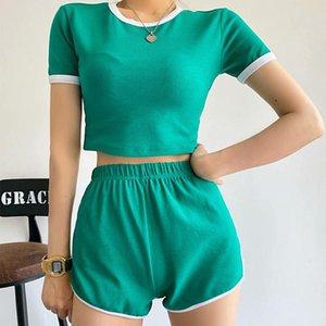 Women's Tracksuits 2021 Summer O-neck Short Sleeve Shorts Homewear Hit The Color Sports Fashion Elastic Waist Stylish Streetwear Sets