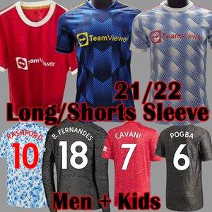 2021 2022 Manchester Top FC Soccer Jersey Greenwood Pogba Rashford Manga Longa Camisa de Futebol Bruno Fernandes Martial Utd Kit 21 22 Homem Crianças Uniforme