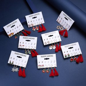 6pairs set Christmas Charm Earrings Jewelry Accessories Santa Claus Snowman Lovely Tree Bell Stud Gifts For Women Girls