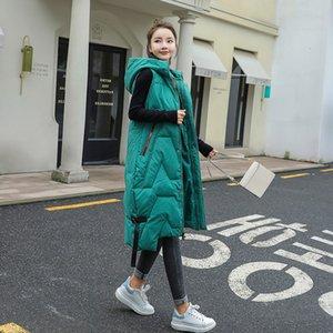 2020 Autumn Winter Fashion Large Size Warm Soft Elegant Hooded Womens Korean Style Long Ladies Cotton Vest Gilet