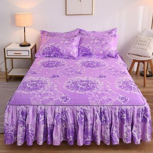 Bedroom Decoration Bed Skirt Textile Bed Sheet + Pillowcase Household Bedding Multiple Large Size Mattress Bed Bedspread F0239 210420