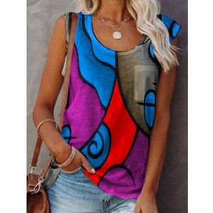 Women's Casual Sleeveless Color Matching T Shirt Tops Fashion Sexy Plus Size Vest Women Summer Shirt Clothing
