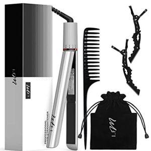 2-em-1 alisador de cabelo encrespador de ferro plana para todos os penteados 15s rápido aquecimento temperatura memória meninas mulheres presentes com alta qualidade branco
