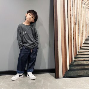 boys autumn spring t-shirts girls cotton round neck long sleeves shirt tops and kid jeans trousers Kids clothes