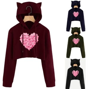 Sweatshirts Women's Fashion Solid Cat Ear Long Sleeve Hoodie Autumn Full Hooded Pullover Women Sudadera Blouses & Shirts