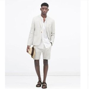 The Latest Linen Men Suits With Short Pants For Wedding 2 Pieces Mens Slim Fit Terno Masculino Groom Blazer Party Men's & Blazers