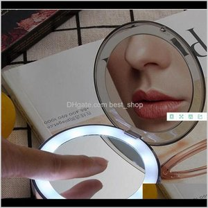 Cosmetic Mirrors Makeup Lens Compact Hand Usb Charging Led Fold Mirror Touch Sensitive Switch Small Light Intelligence Portable 32Xy D Qrjd1