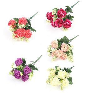 Искусственные цветы роскошный букет свадебные украшения для домашнего стола декор неба голубой поддельные гортензии декоративные венки