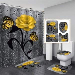 Çiçek Banyo Mat ve Duş Perdesi Set Duş Perdesi Kancalar Ile Banyo Halıları Anti Kaymaz Banyo Halı Tuvalet Ayak Pedi Banyo Mat 1229 V2