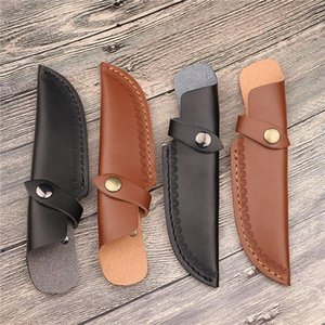 Straight Blade Sheath with Opening Above Belt Knife Holder Leather Cover Camp Tool Holster Case Hunt Carry Scabbard Pouch Bag DWB10501