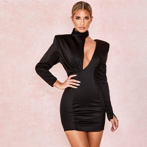 Dress Mini 2020 Black Spring Women New Fashion Cryptographic Sexy Cutouts Backless Date Night Party Club Satin Splice