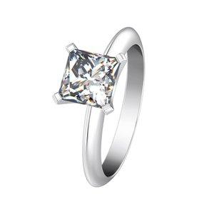 Чистый серебристый 925 Свадебные украшения 1CT NSCD Имитация бриллиантового кольца Принцесса Обручальное соседание кольца 18K Белое золото