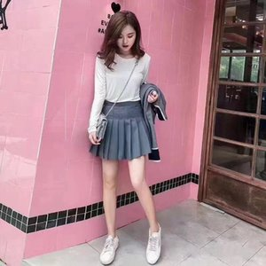 summer and 21ss spring new fashion TB college style built in pants high waist A-line pleated skirt women's fashion