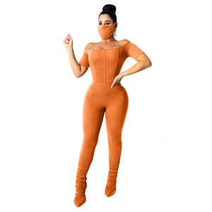 Fashion Women Solid Jumpsuits Autumn Latest Female Slash Neck Short Sleeve Bodycon Draped Stacked Rompers Six Color (2pcs)