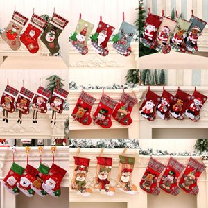 Christmas Stocking Polyester Linen Fabric Christmas Gift Bags Xmas Decorations Party Supplies Santa Snowman Pattern 9 Style HWB10217