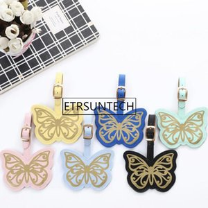 100pcs 6 Colors Gold Stamp Butterfly Luggage Tag PU Suitcase ID Addres Holder Baggage Boarding Tag