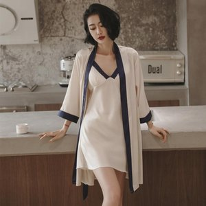 Women's Sleepwear Double Color Patchwork Robe&gown Sets Sexy Satin Lady Kimono Gown V-neck Strap Nighty Intimate Lingerie Pajamas 2PCS