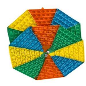 Super Large 34CM Giant Bubbles Popper Board Fidget Sensory Puzzle Toys Octagonal Chessboard Pioneer Decompression Jumbo Mega Rainbow Game G695BBG