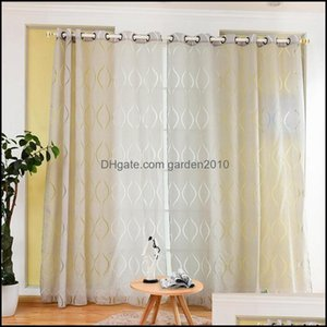 Curtain Deco El Supplies Home Gardencurtain & Drapes High Quality Embroidered Wave Bubble Cut Flowers Polyester Mti-Color For Living Room Fi