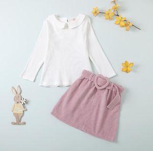 Kids Clothes Sets Children Girls Lapel Long Sleeve Hole Striped Top + Belt Short Skirt Baby Infant Clothing