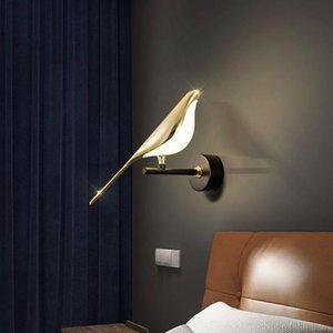 Wall Lamps Modern Art Golden Bird Led Light Corridor Stairs Lamp Bedroom Bedside Decor Sconce Home Interior Lights