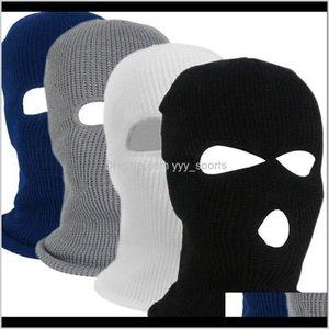 Beanies 1Pc Winter Knit Cap Warm Soft 2 3 Holes Full Face Ski Balaclava Hood Motorcycle Helmet Army Tactical Hat Fashion Women Men Wei Baixq