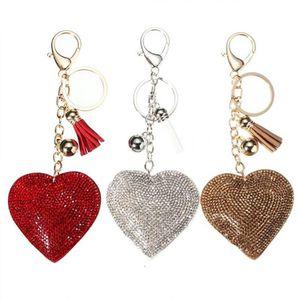 New keychain Romantic Dazzling Rhinestone Love Heart Charm Pendant Fringe Keyring Jewelry Key Chains gifts
