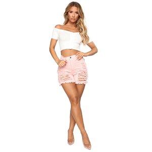 Sommer Denim kurze Jeans Frauen sexy Hohe Taille Loch gerissen Shorts Mode Beiläufige dünne gerissene Denim Shorts Lady Hotpants Streetwe R0414