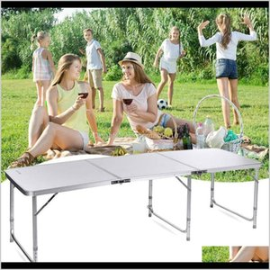 Living Room Furniture 180 60 X 70Cm Home Use Aluminum Alloy Folding Table White 3 Sections Foldable Workmanship Portable For Picnic Ca Kbn3W