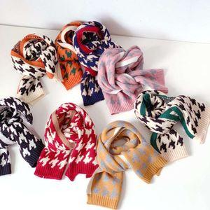 Thousand bird children's scarf autumn winter Korean boys and girls cover knitted wool baby warm neck