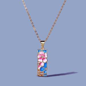 Halskette Exquisite Damen 925 Sterling Silber Rosa Blume Anhänger Farbe Epoxidmode Schmuck Handgemachte Emaille