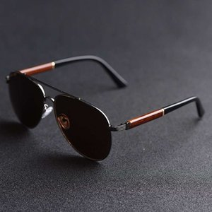 Vazrobe Glass Sunglasses Male Wood Sun Glasses Men Dark Brown Aviation Brand Designer Vintage Oversize