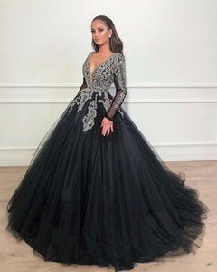 African Black Ball Gown Prom Dresses Long Sleeve 2019 Formal Deep V Neck Luxury Beading Crystal Tulle Arabic Evening Gowns